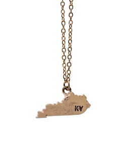 """Kentucky"" State Initial Necklace"