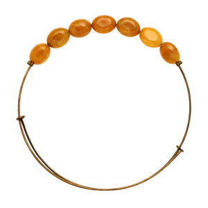 "*""Yellow Aventruine"" Oval Stone Wire Bangle"