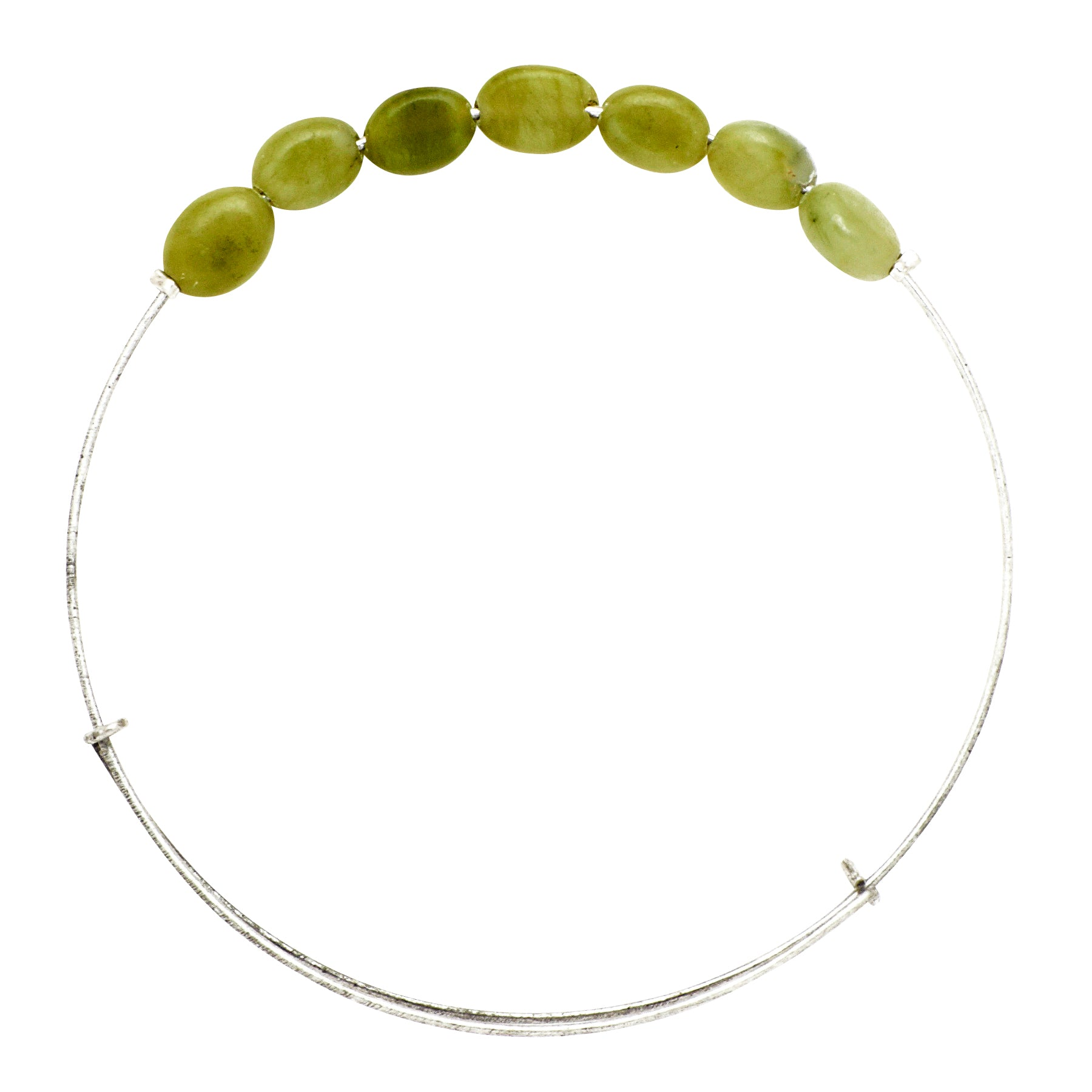 """Green Spot Jade"" Oval Stone Wire Bangle"