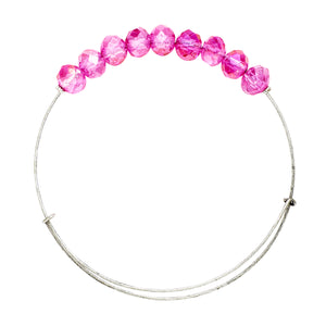 *Large Bubblegum Crystal Wire Bangle