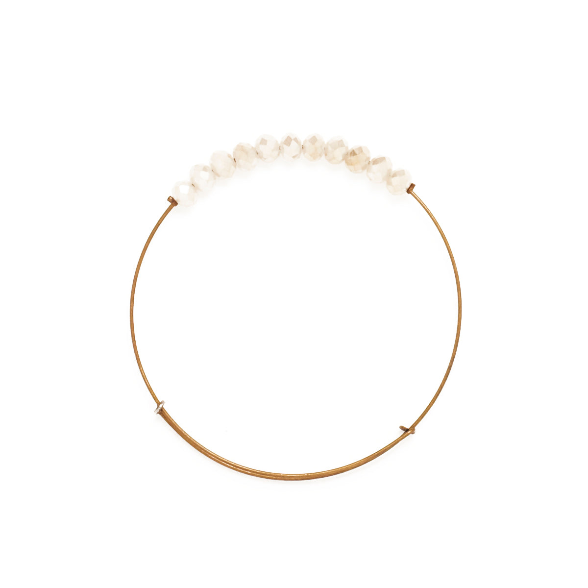 Creme Matte Crystal Wire Bangle