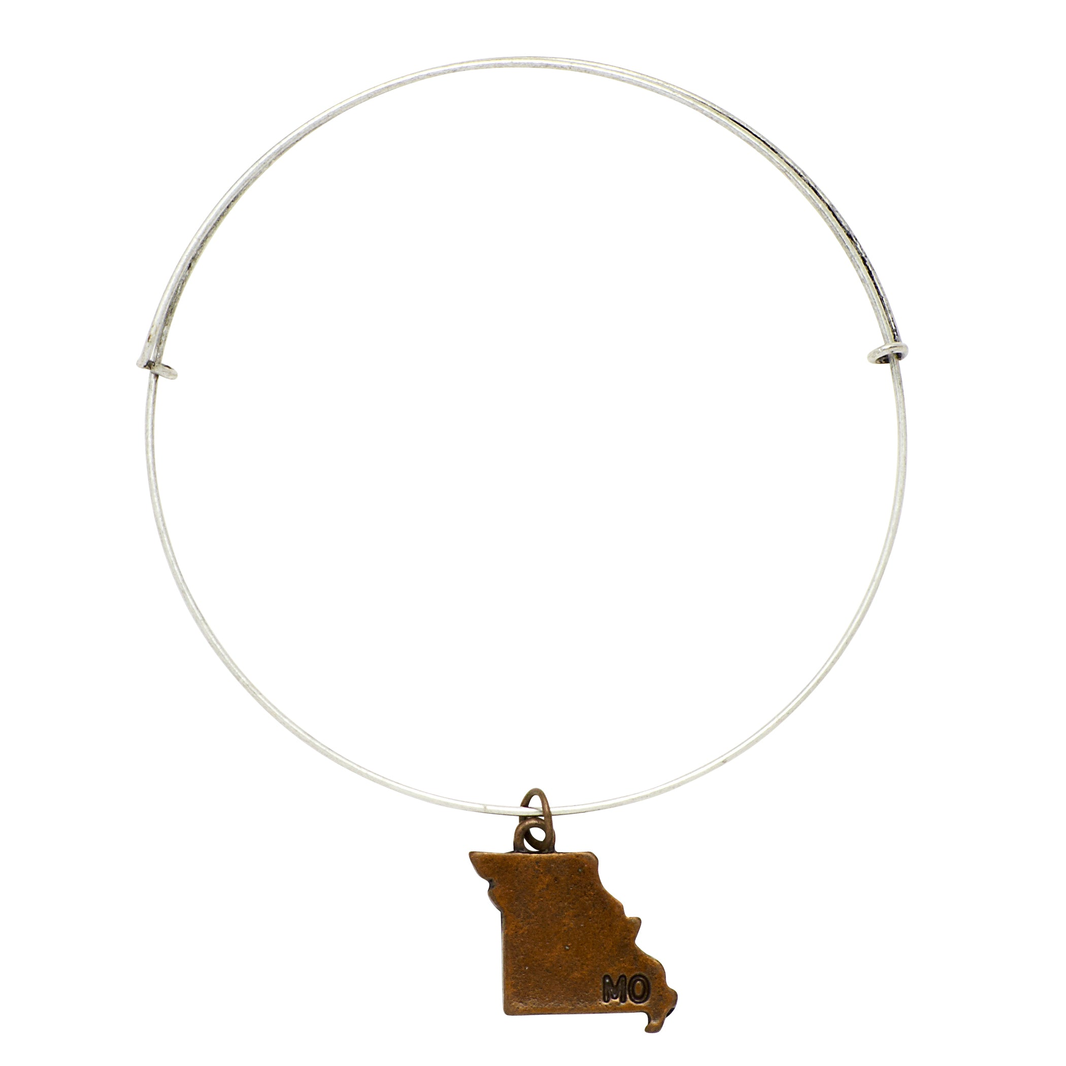 """Missouri"" State Initial Wire Bangle"