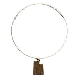 "*""Utah"" State Initial Wire Bangle"