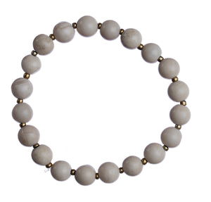 """Cream Stone"" 8mm Natural Stone Stretchy Bracelet"