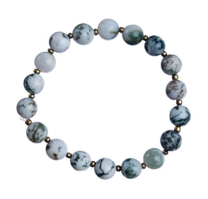 "*""Tree Agate"" 8mm Natural Stone Stretchy Bracelet"