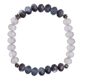 """Smoke + Gray"" 8mm Crystal Stretchy Bracelet"