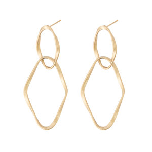 *Gold Double Diamond Shape Hoop Earrings