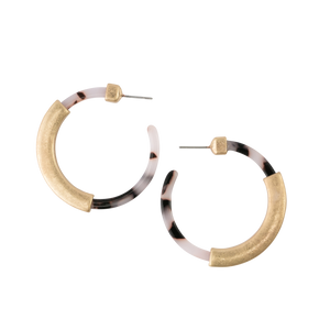 *Light Tortoise Hoop with Gold Earrings