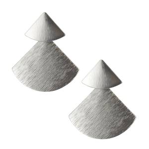 Double Silver Triangle Fan Earrings