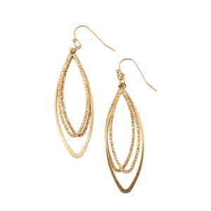 3 Oval Loop Gold Dangle Earrings