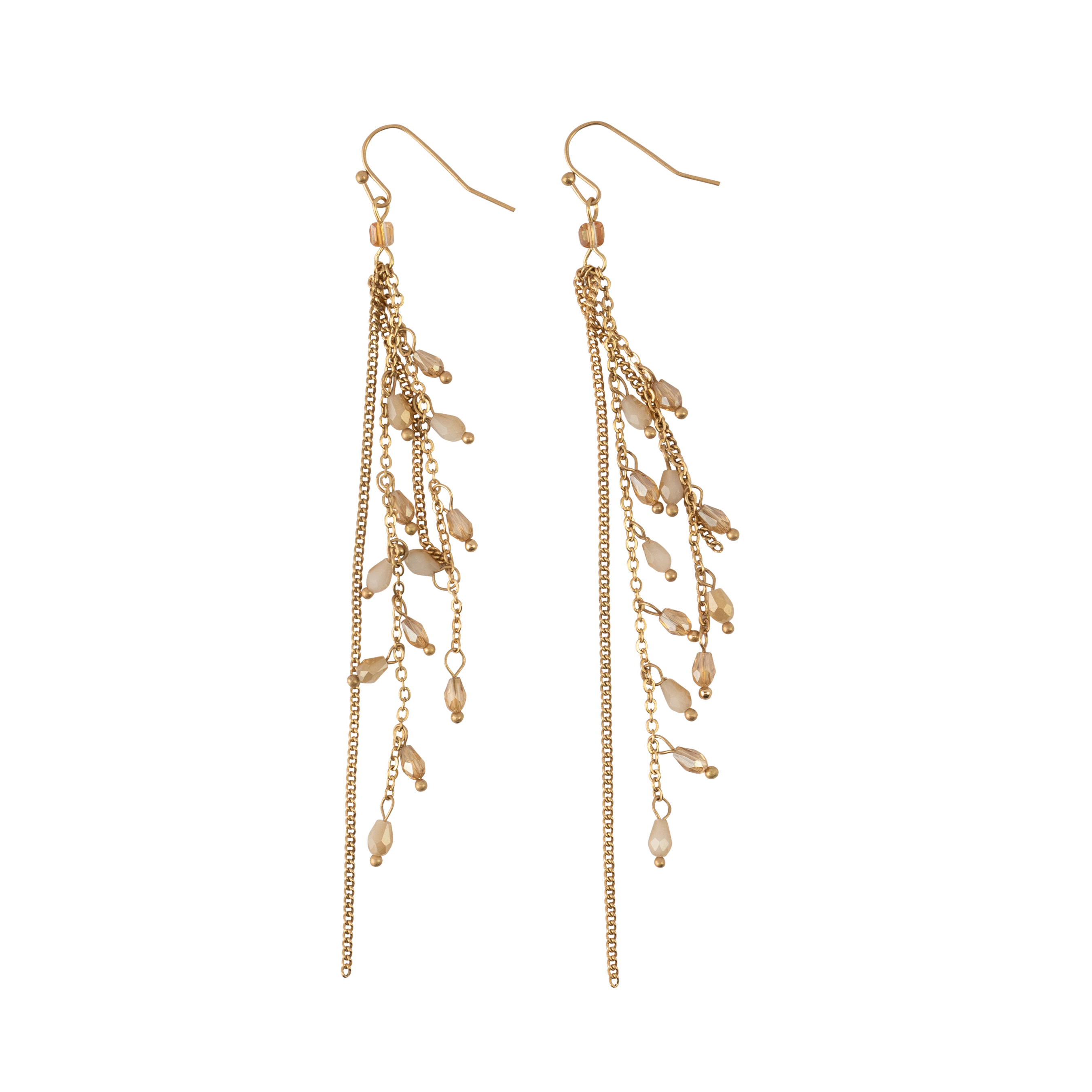 *Long Gold Chains with Champagne Crystal Earrings