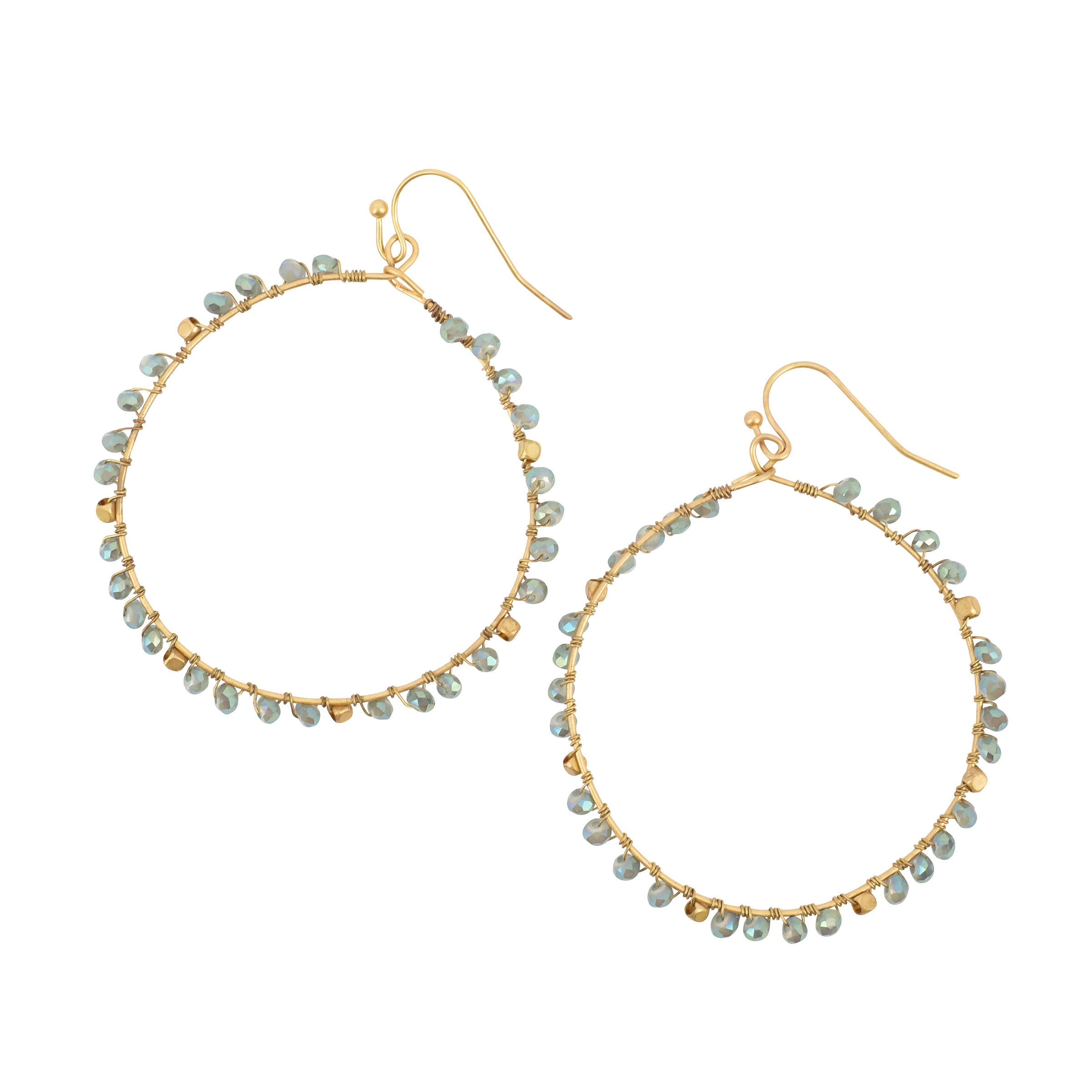 *Gold Hoop with Aqua Beads All Around It