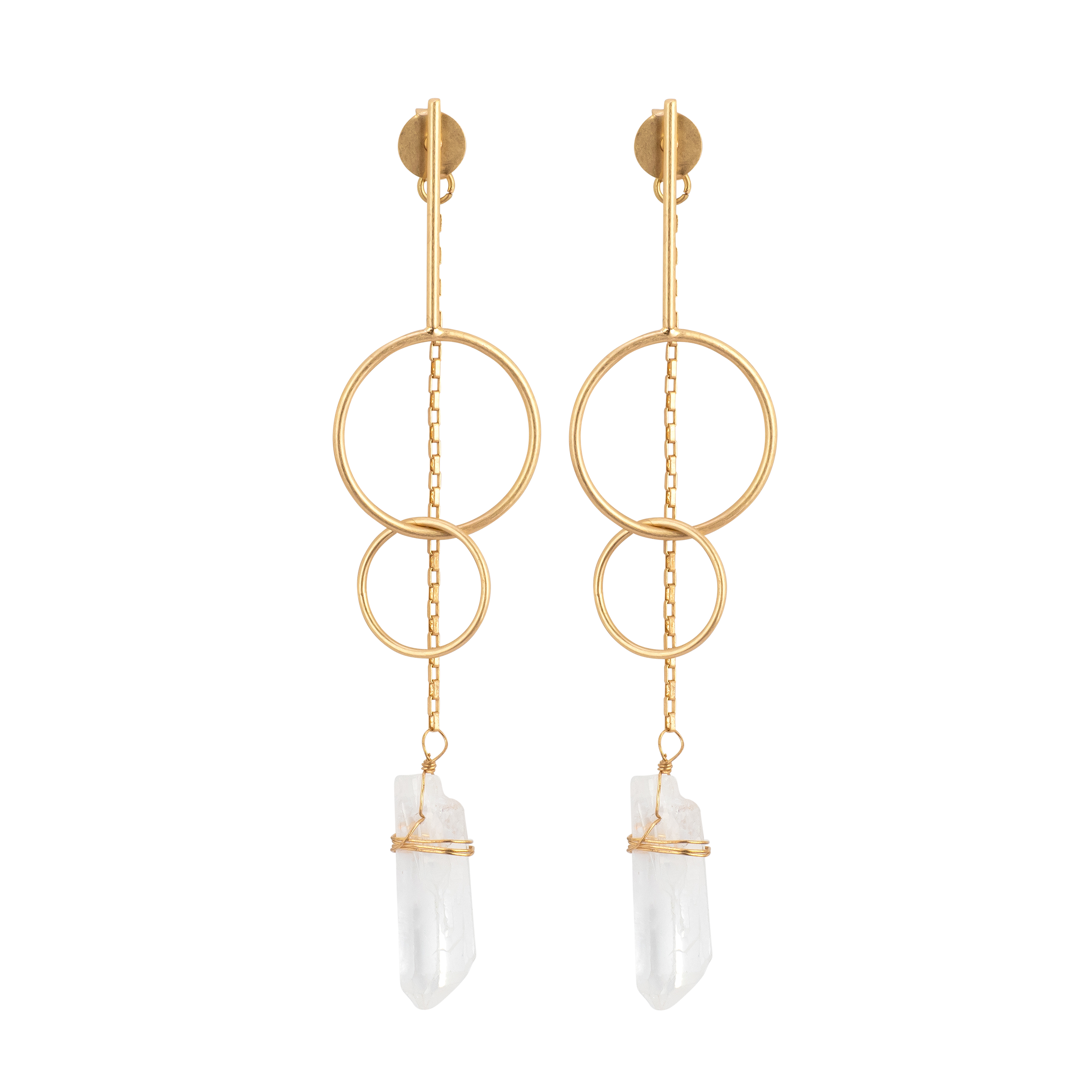 Chains with 2 Gold Hoops + Crystal