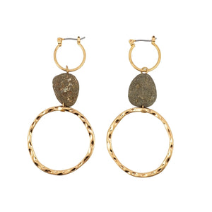 2 Gold Hoops with Hematite Stone