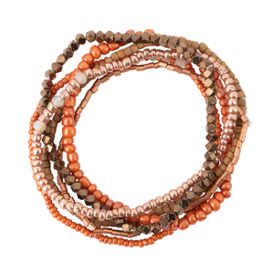 Orange Tones Seed Bead Stackable Bracelet Set