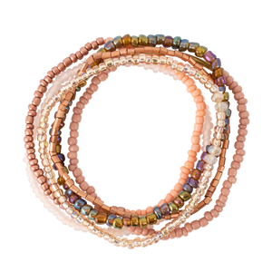 Rose Tones Seed Bead Stackable Bracelet Set