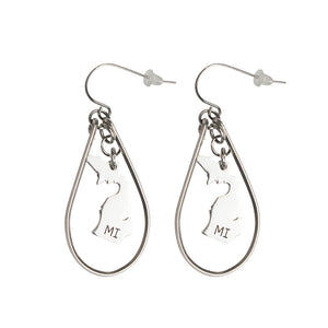 """Michigan"" State Initial Earrings - Oval/Stainless Steel"