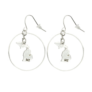 """Michigan"" State Initial Earrings - Round/Silver"