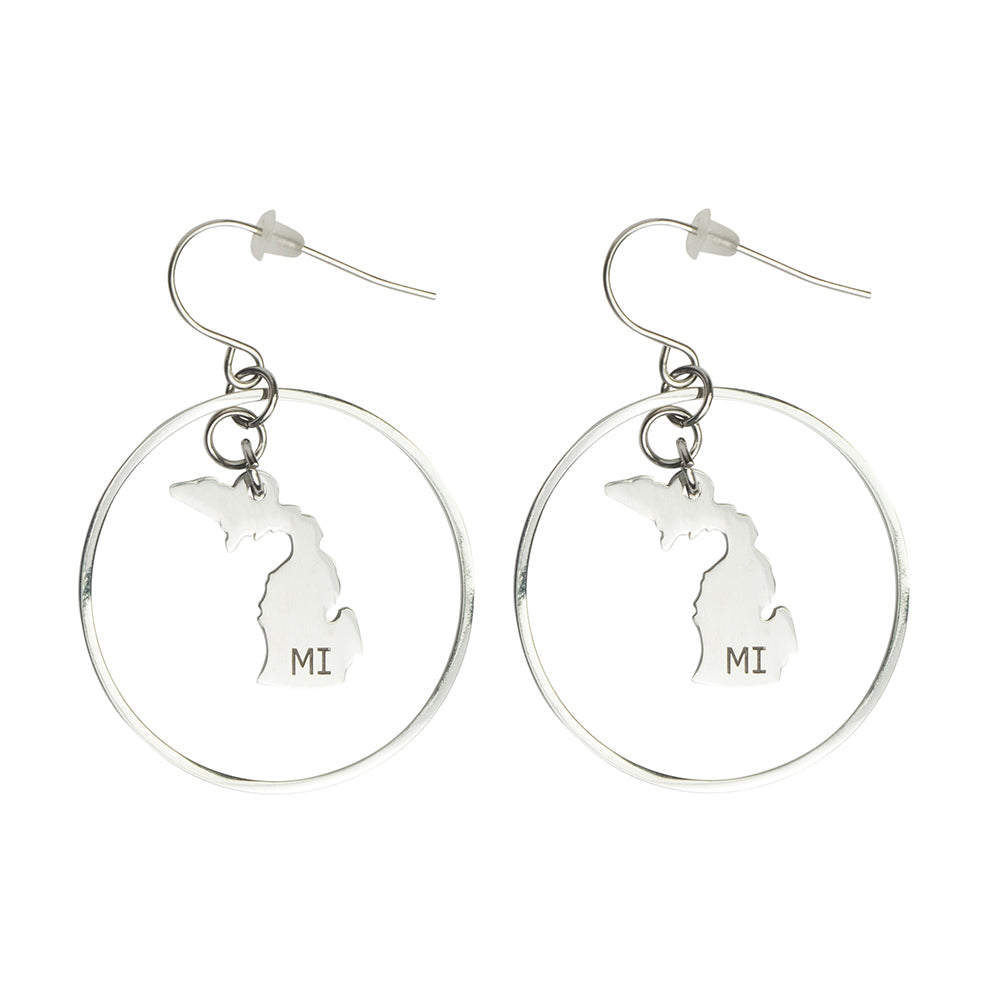 """Michigan"" State Initial Earrings - Round/Stainless Steel"