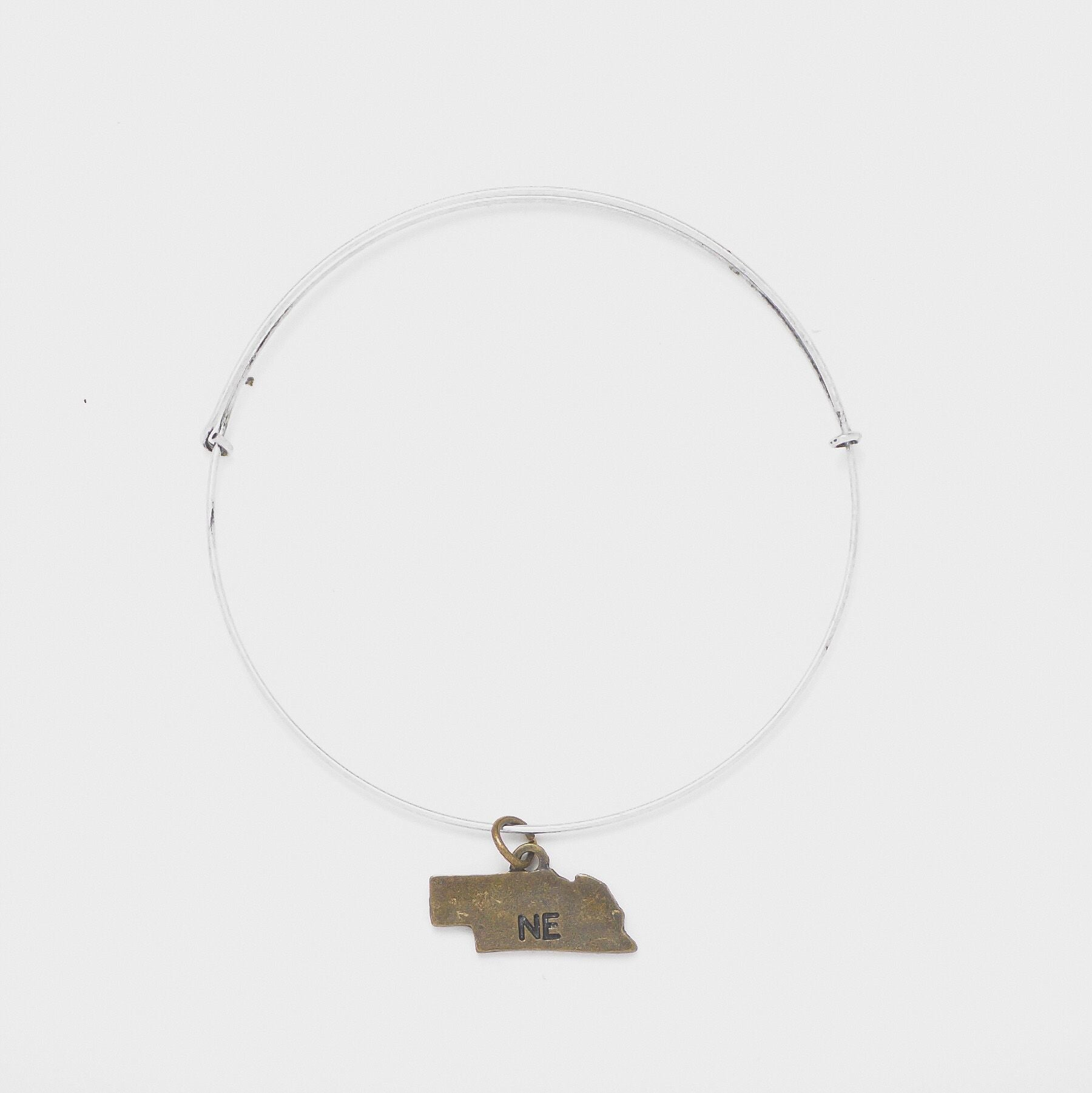 """Nebraska"" State Initial Wire Bangle"