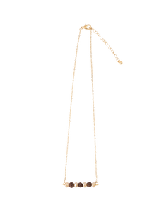 Champagne Crystals + Lava Beads Bar Necklace