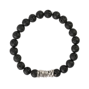 All Black Lava Beads with Large Silver Spacer