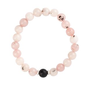 Rose Quartz Stones + 1 Black Lava Bead