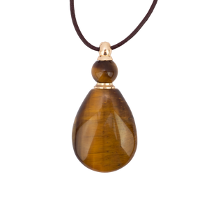 *Zengo Tigers Eye Natural Stone Vial Necklace