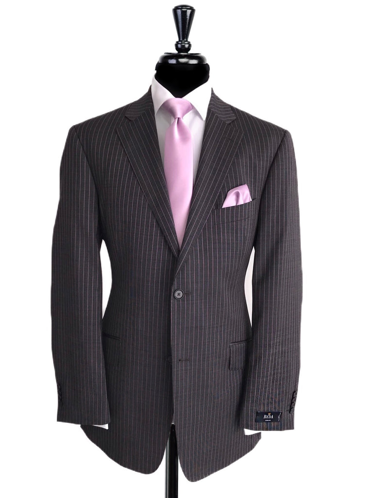 REDA Grey/Pink Pin Stripe 2 Piece Suit