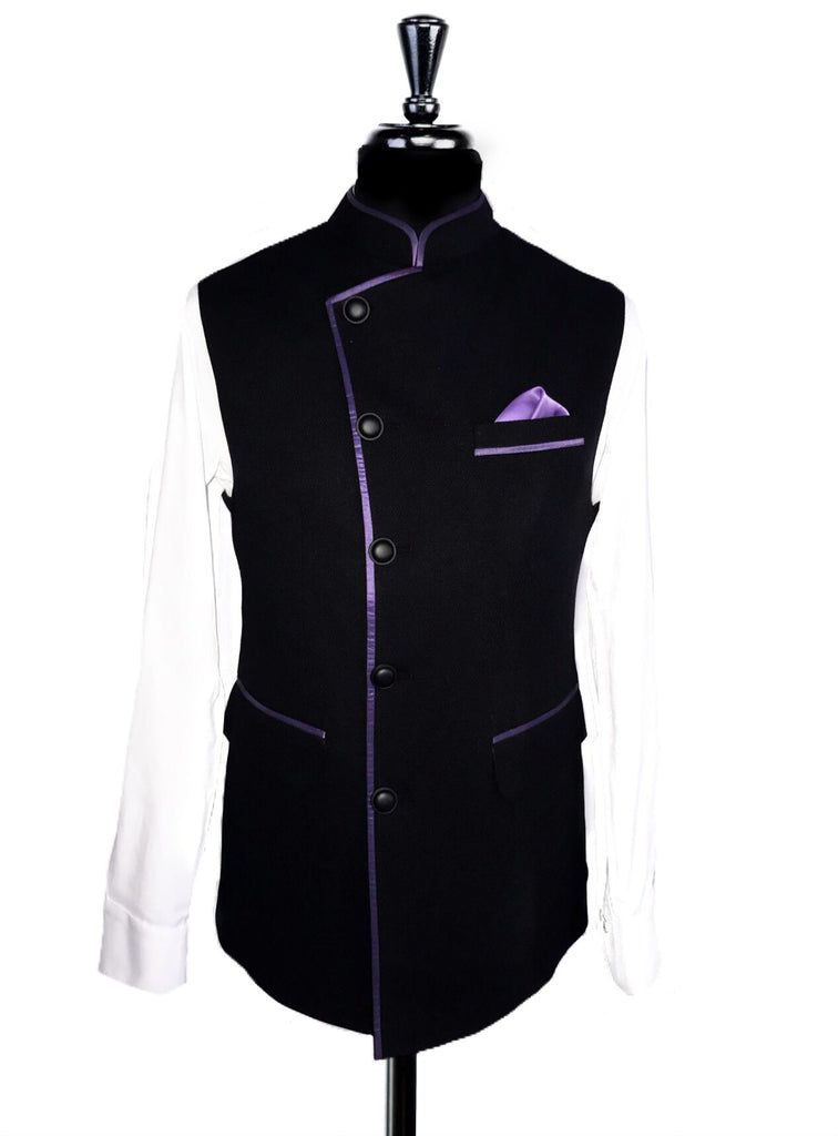 Black Fine Dot Texture & Purple Satin Pipping Nehru Waistcoat