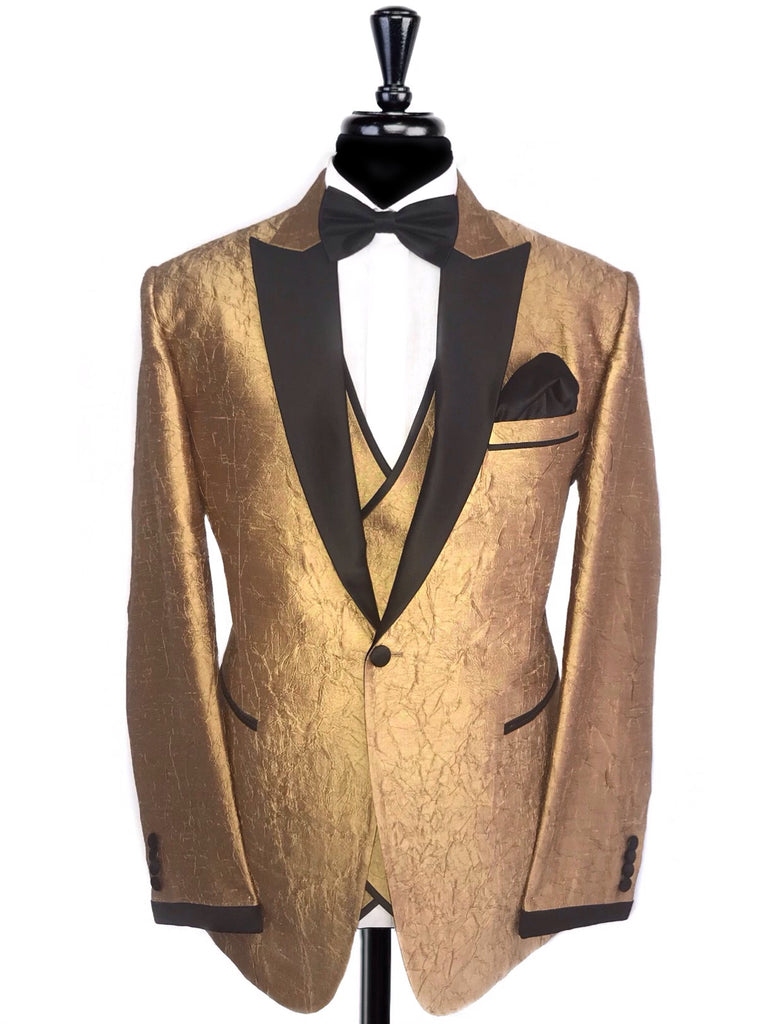 Gold Textured Black Satin Peak Lapel Tuxedo Jacket with Waistcoat