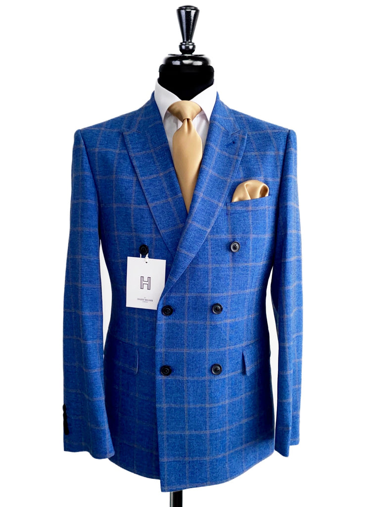 HARRY BROWN Blue/Beige Check Double Breasted 2 Piece Suit