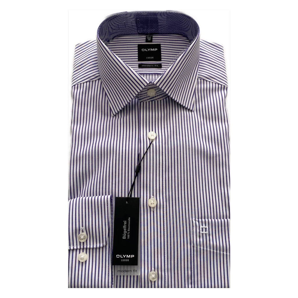 OLYMP White/Purple Stripe Modern Fit Shirt