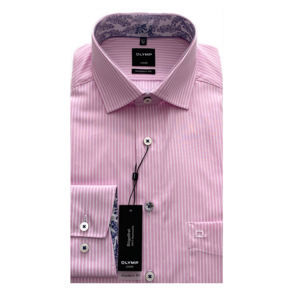 OLYMP Pink/White Stripe Modern Fit Shirt