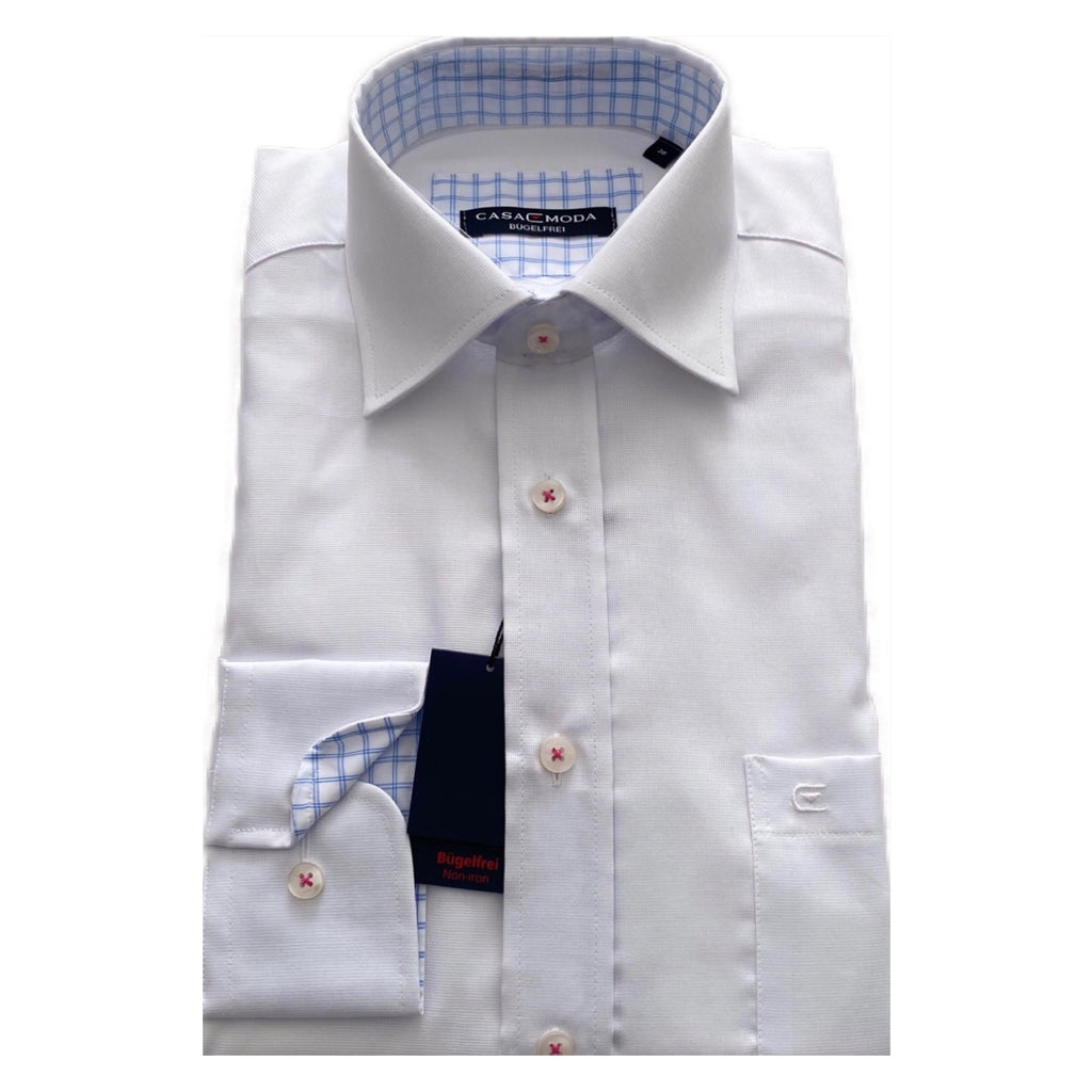 CASA MODA Plain White Non-Iron Shirt
