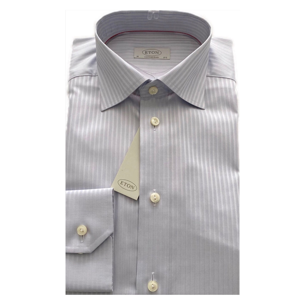ETON Silver Self Stripe Contemporary Fit Shirt