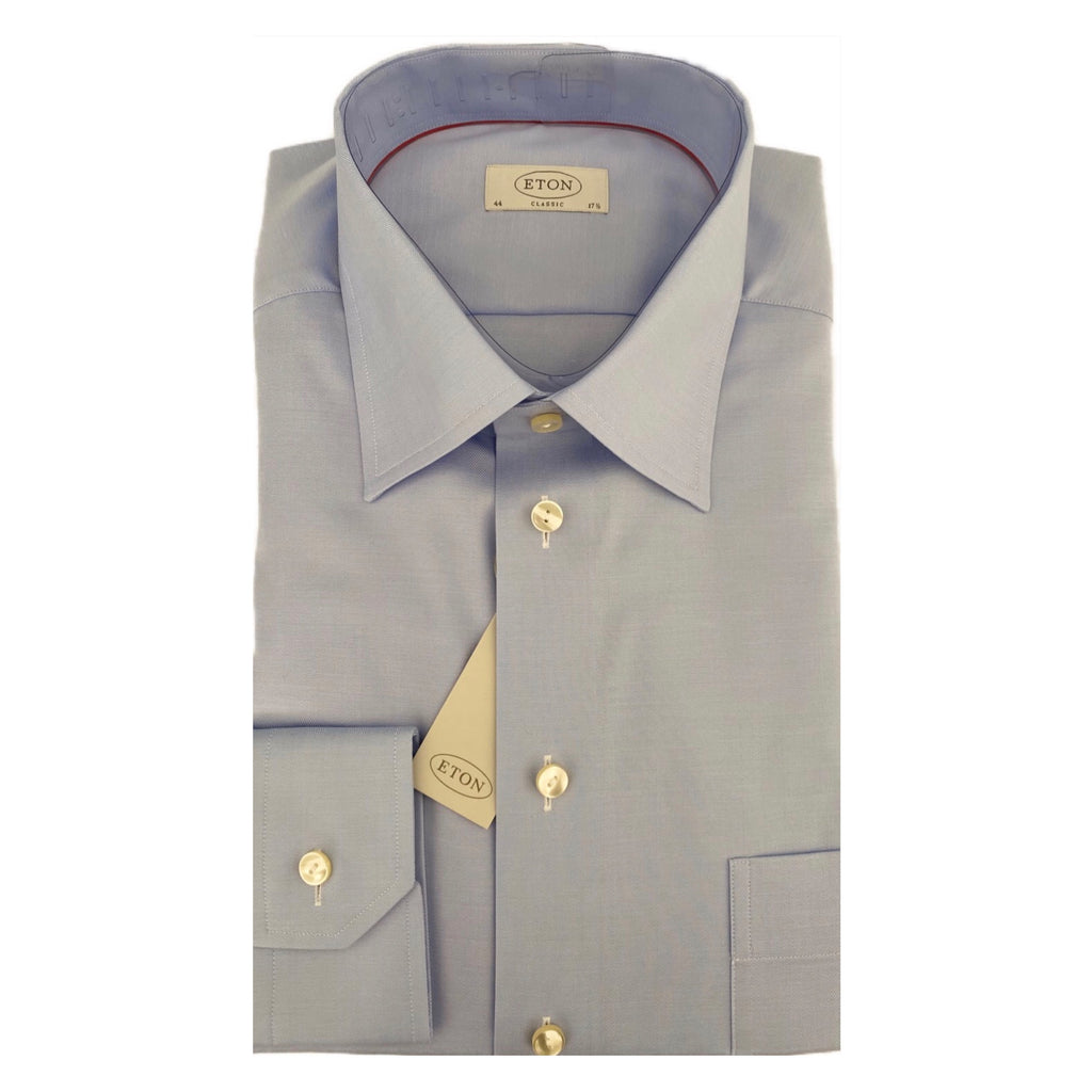 ETON Sky Blue Herringbone Regular Fit Shirt