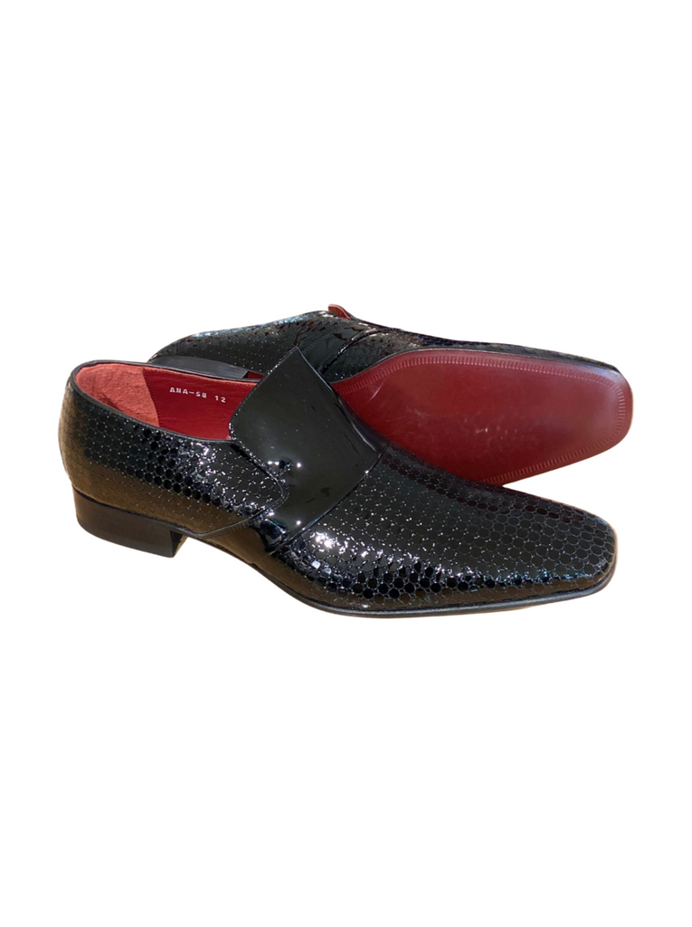 JACK MICHAEL Black Patent Leather Square Print Shoe