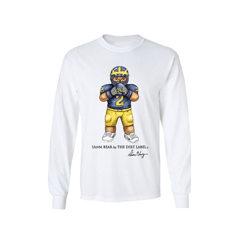 UofM Bear L/S Tee (White)