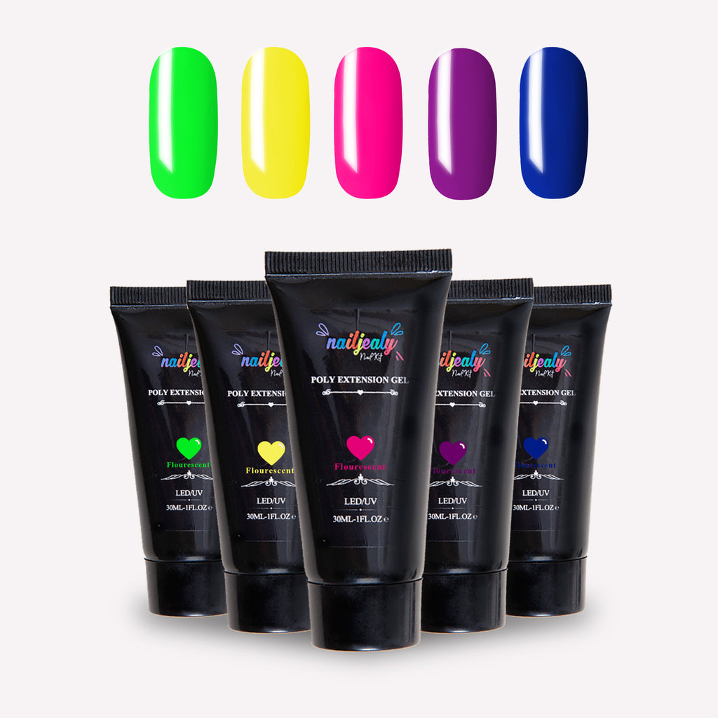 Glow collection image. At the top of the image, there are five nails in the following colours: bright green; bright yellow; luminous pink; a deep purple and royal blue. Underneath, there are five black polygel tubes.