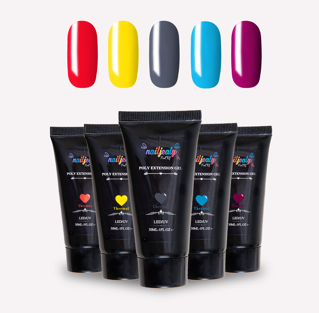 Play collection image. At the top of the image, there are five nails in the following colours: red; yellow; grey; blue and purple. Underneath, there are five black polygel tubes.