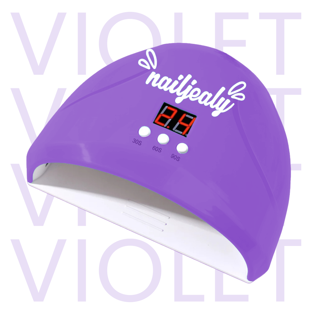 Image of a violet coloured LED nail lamp with a white NailJealy logo. The background is white with the word 'VIOLET' repeating in capitals.