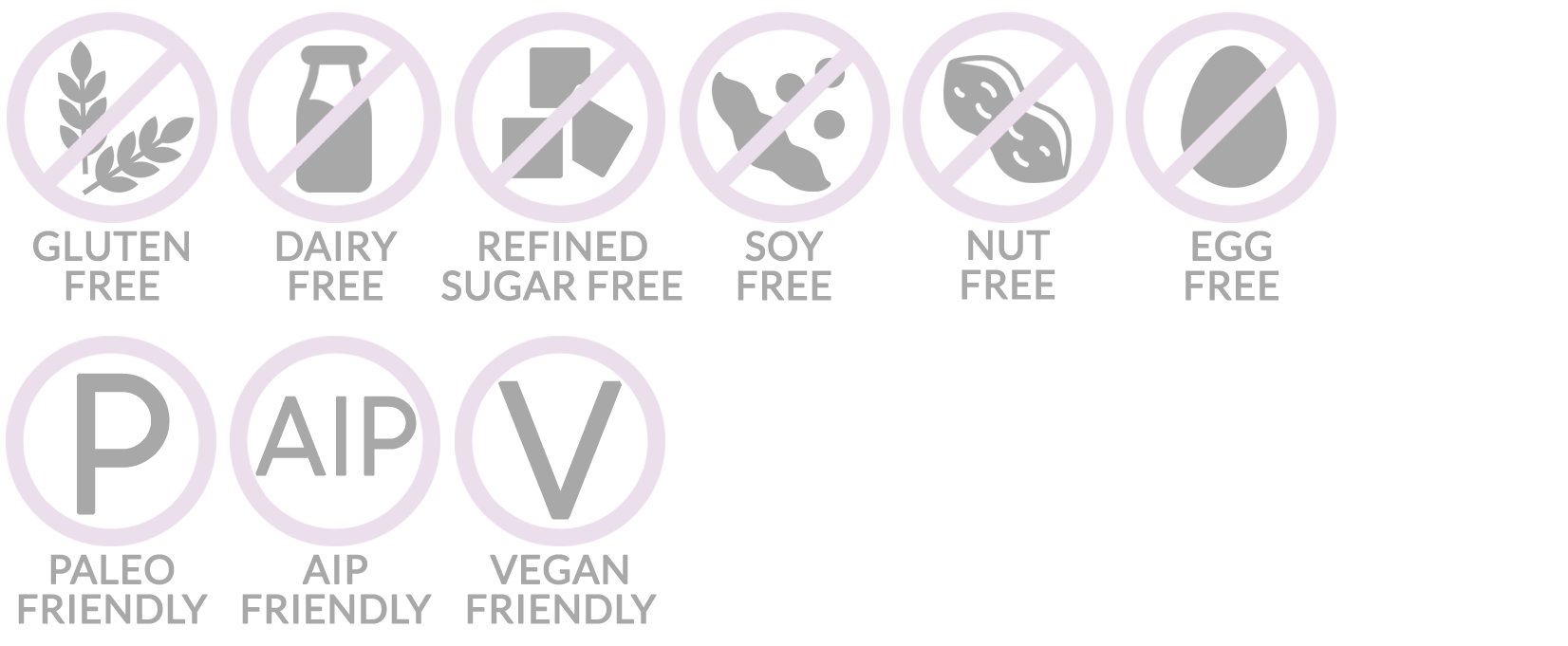 Allergen logos - Gluten-free, dairy-free, soy-free, refined sugar-free, paleo, AIP-friendly, vegan, egg-free, nut-free