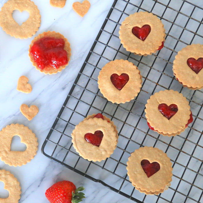 Strawberry Linzer Cookies 6-pack (AIP/V) - Leo & Co. Bakery