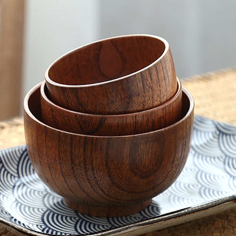 3Pcs Japanese Wooden Bowl Set