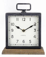 Metal Clock with Wooden Base
