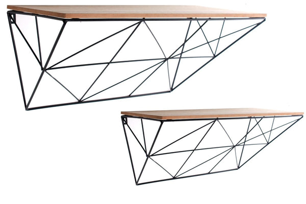Set of 2 Black Geometric Shelves