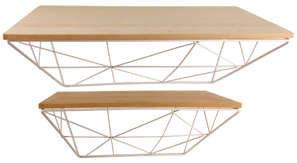 Set of 2 Geometric White Wire Shelves