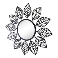 Black Metal Leaf Design Accent Mirror