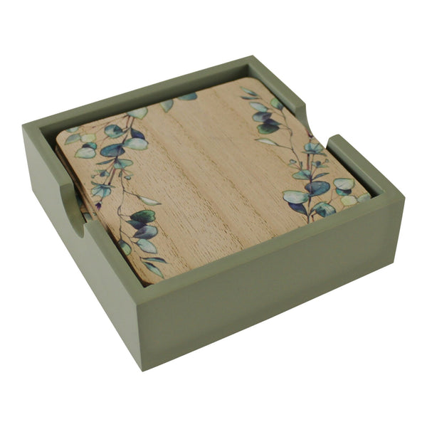 6 Eucalyptus Coasters in Box